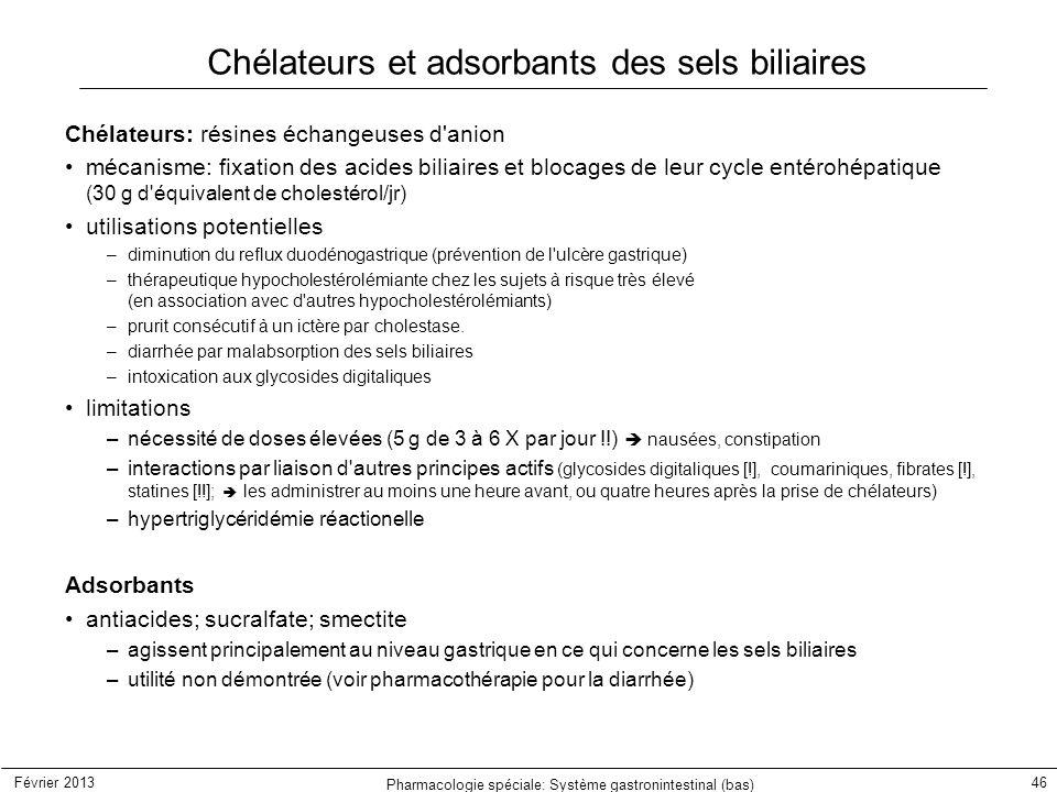 Chélateurs et adsorbants des sels biliaires