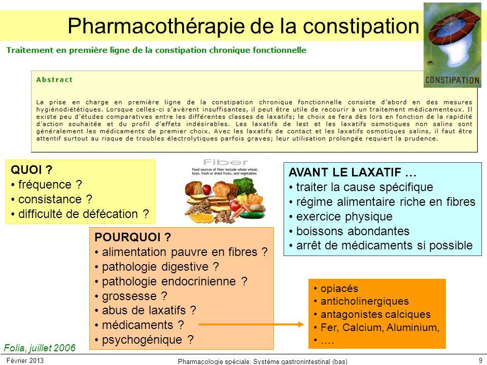 Pharmacothérapie de la constipation