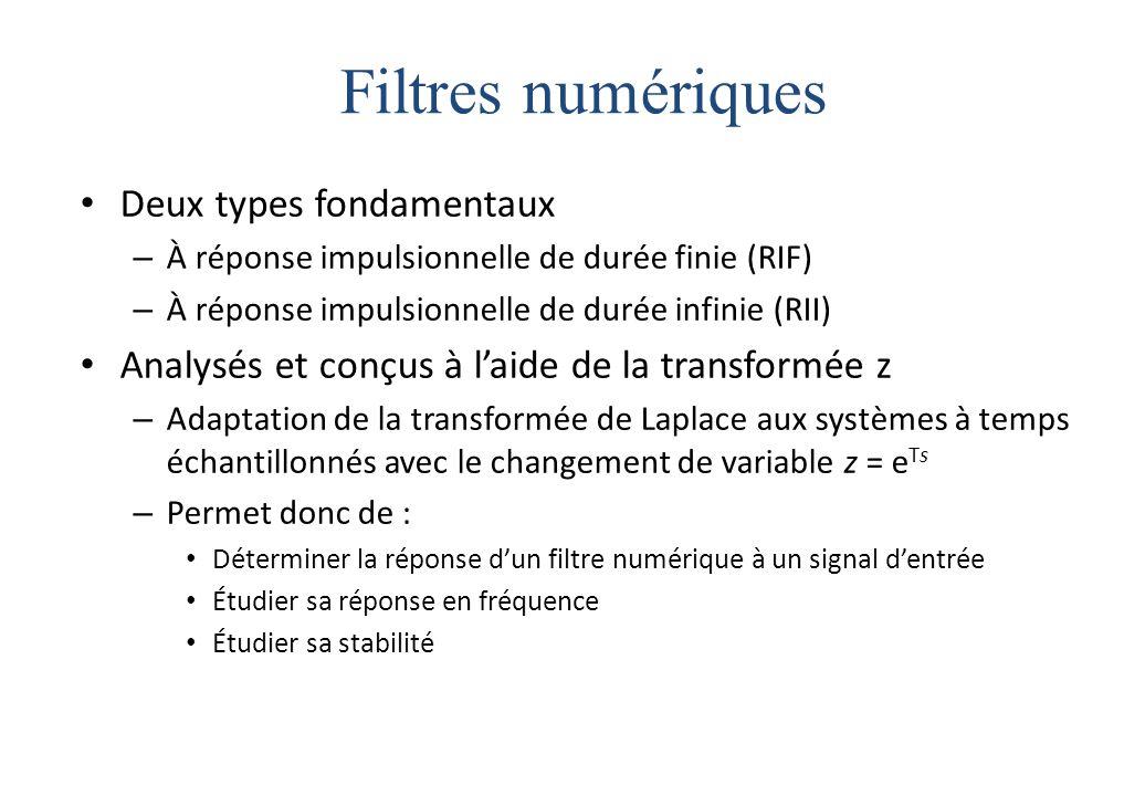 Filtres numériques Deux types fondamentaux