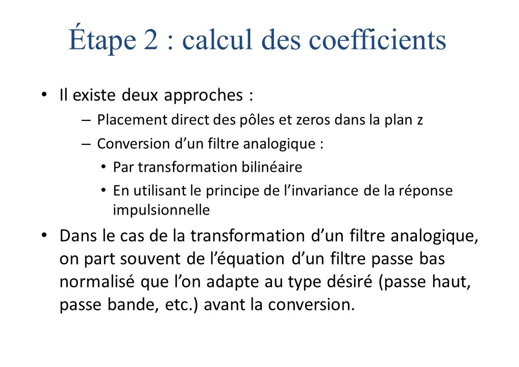 Étape 2 : calcul des coefficients