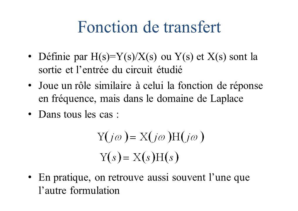 Fonction de transfert Définie par H(s)=Y(s)/X(s) ou Y(s) et X(s) sont la sortie et l'entrée du circuit étudié.