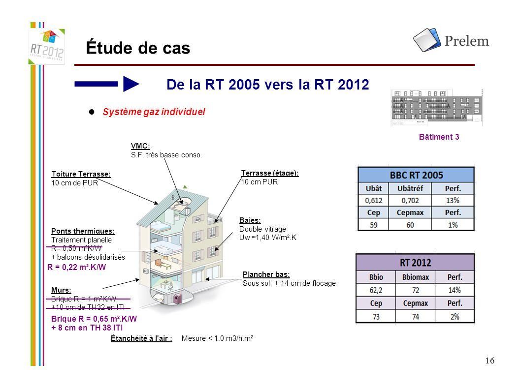 Étude de cas De la RT 2005 vers la RT 2012 Système gaz individuel 16