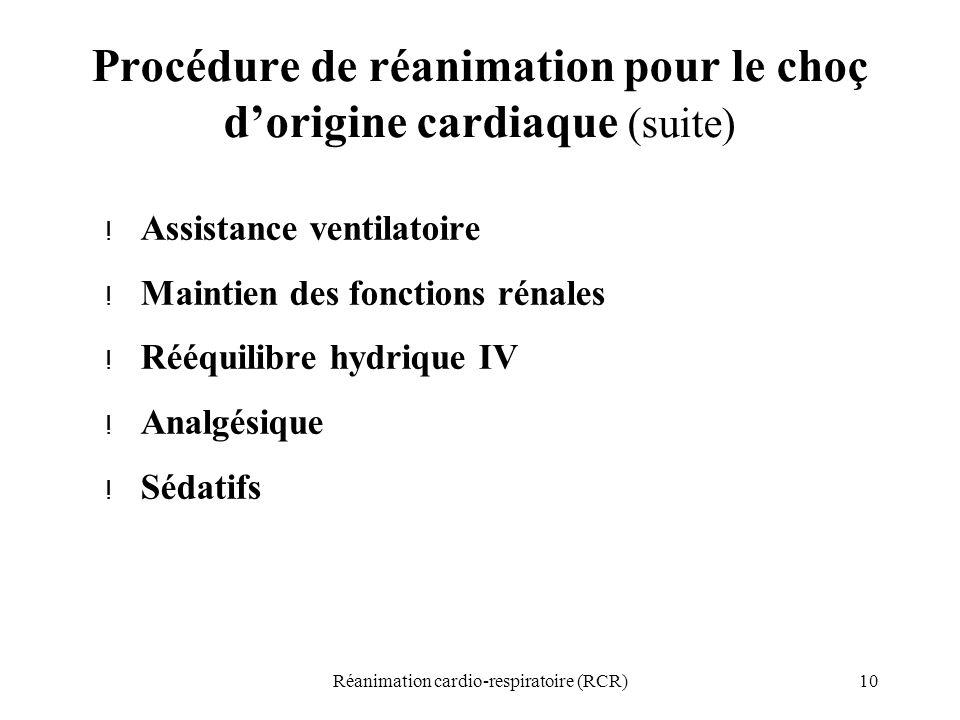 Procédure de réanimation pour le choç d'origine cardiaque (suite)
