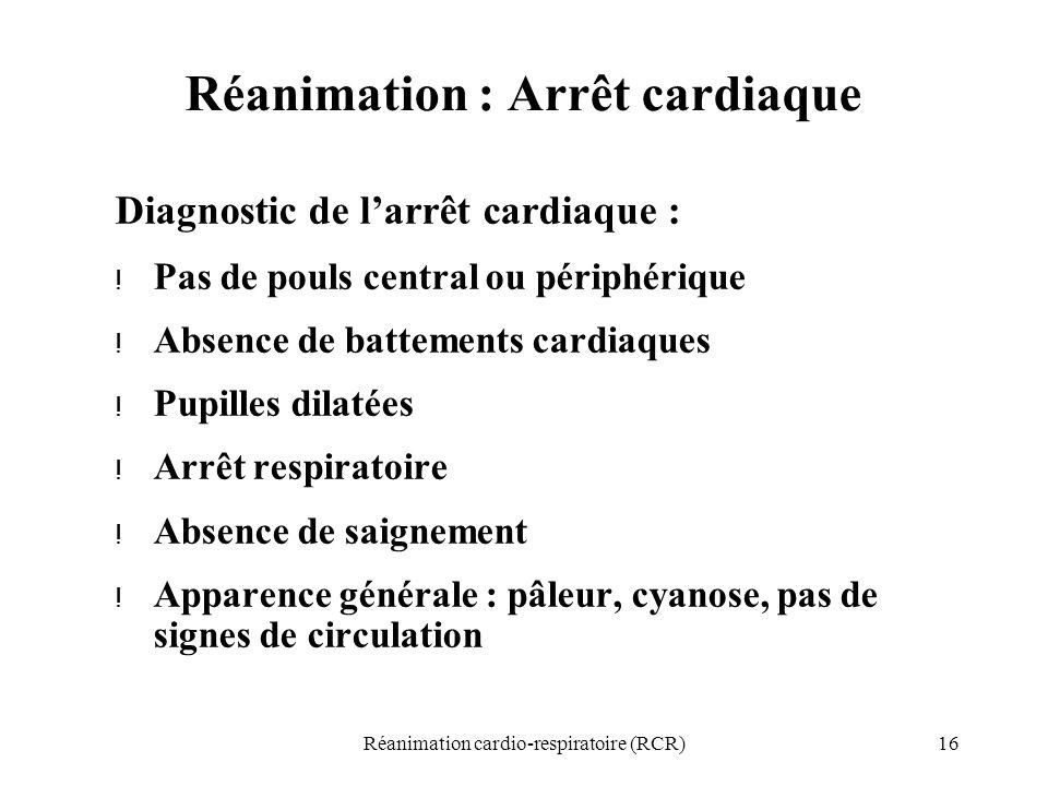 Réanimation : Arrêt cardiaque
