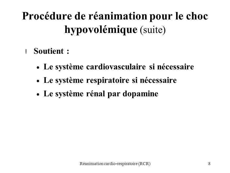 Procédure de réanimation pour le choc hypovolémique (suite)