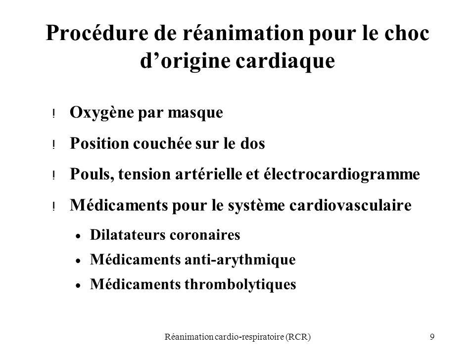 Procédure de réanimation pour le choc d'origine cardiaque