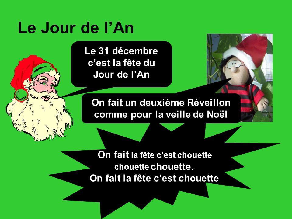 Le Jour de l'An Le 31 décembre c'est la fête du Jour de l'An