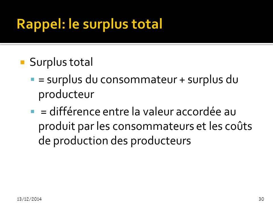Rappel: le surplus total