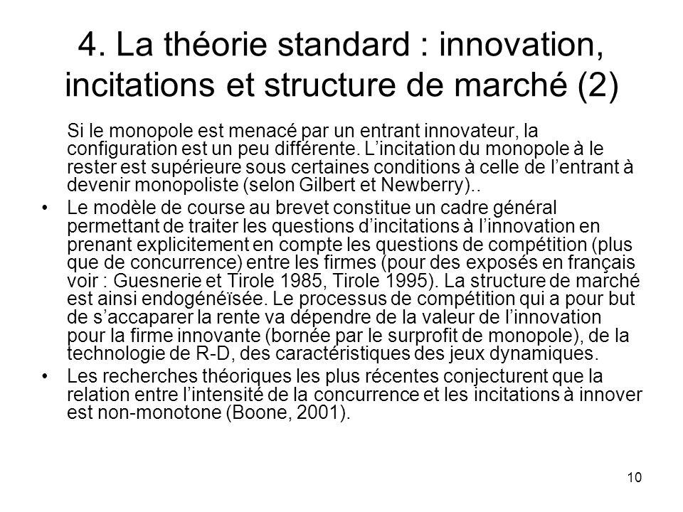 4. La théorie standard : innovation, incitations et structure de marché (2)