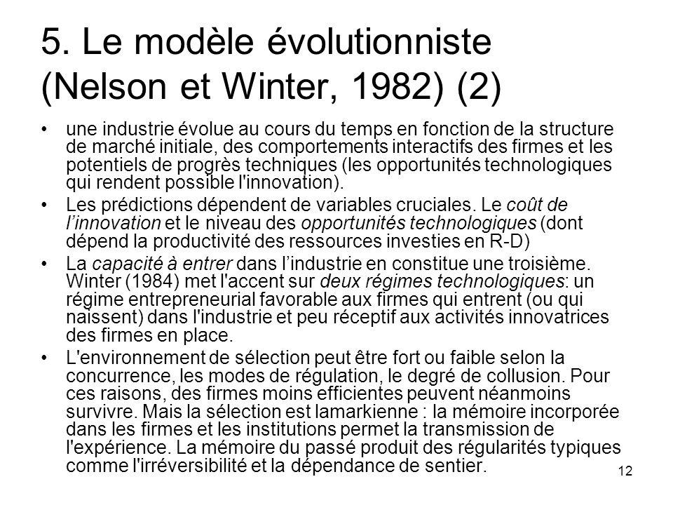 5. Le modèle évolutionniste (Nelson et Winter, 1982) (2)