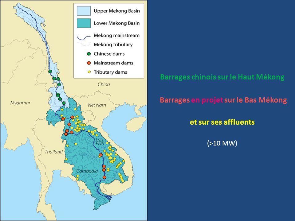 Barrages chinois sur le Haut Mékong Barrages en projet sur le Bas Mékong et sur ses affluents (>10 MW)