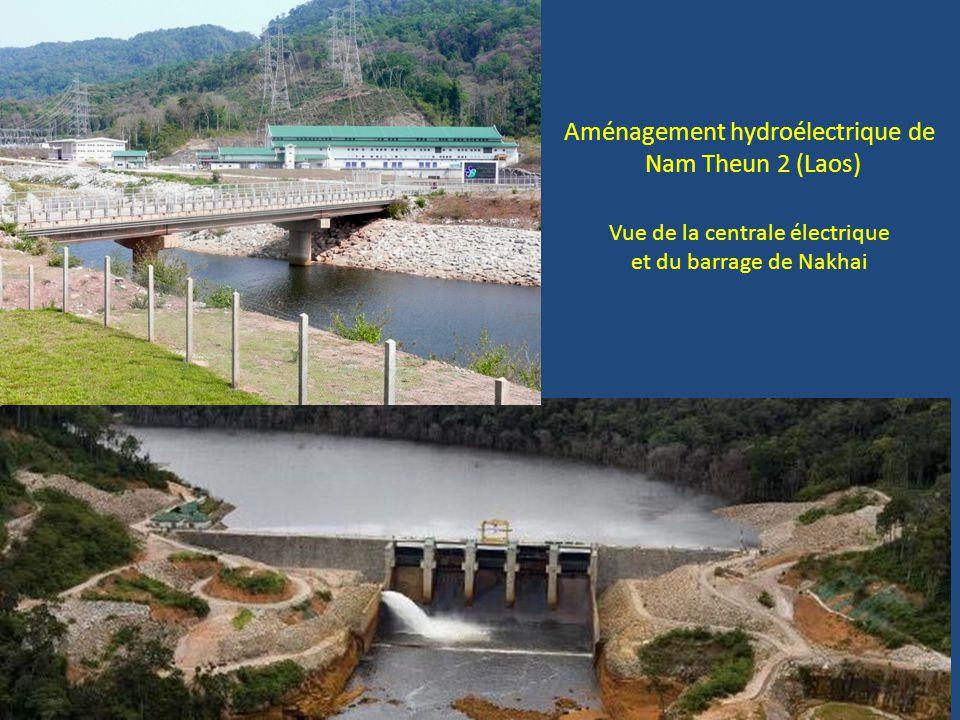 Aménagement hydroélectrique de Nam Theun 2 (Laos) Vue de la centrale électrique et du barrage de Nakhai
