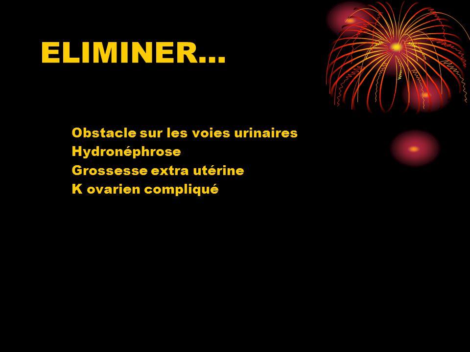 ELIMINER… Obstacle sur les voies urinaires Hydronéphrose