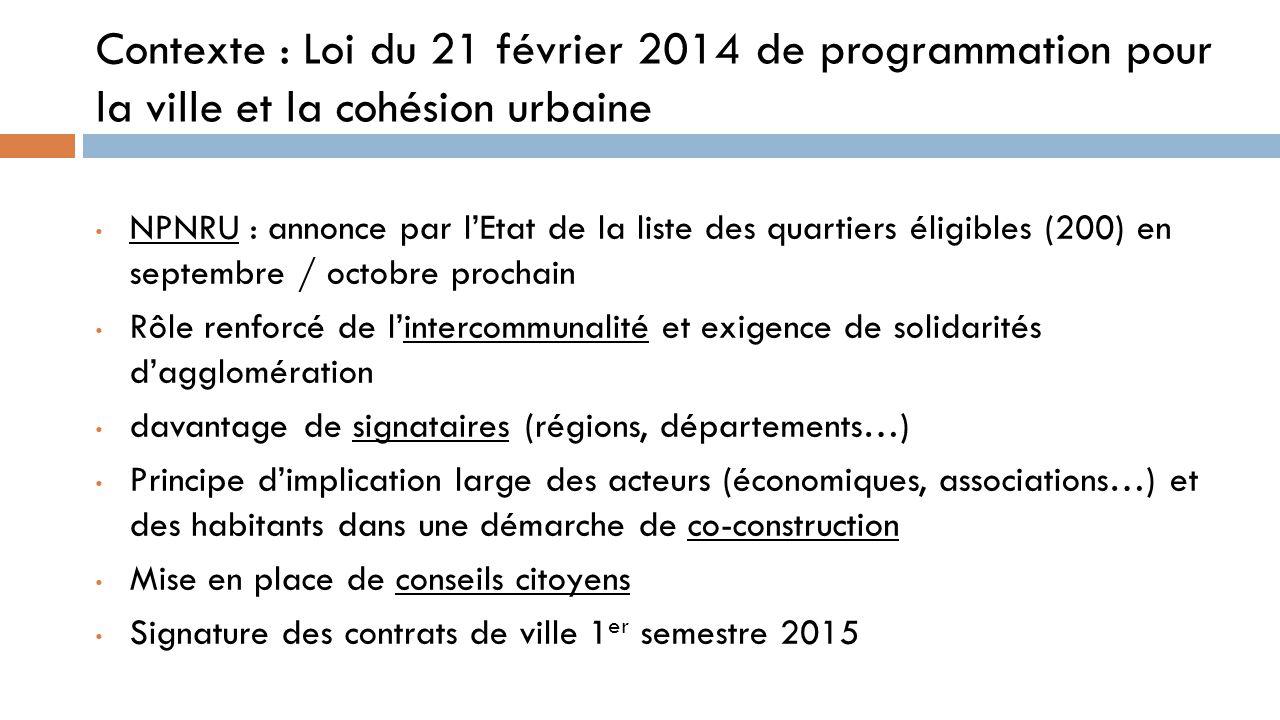 Contexte : Loi du 21 février 2014 de programmation pour la ville et la cohésion urbaine