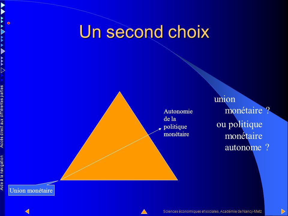 Un second choix union monétaire ou politique monétaire autonome