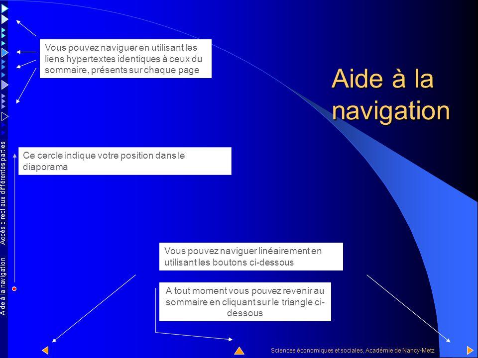 Aide à la navigation Vous pouvez naviguer en utilisant les liens hypertextes identiques à ceux du sommaire, présents sur chaque page.