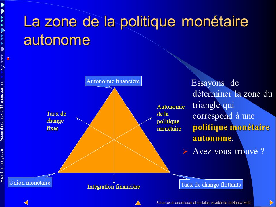 La zone de la politique monétaire autonome