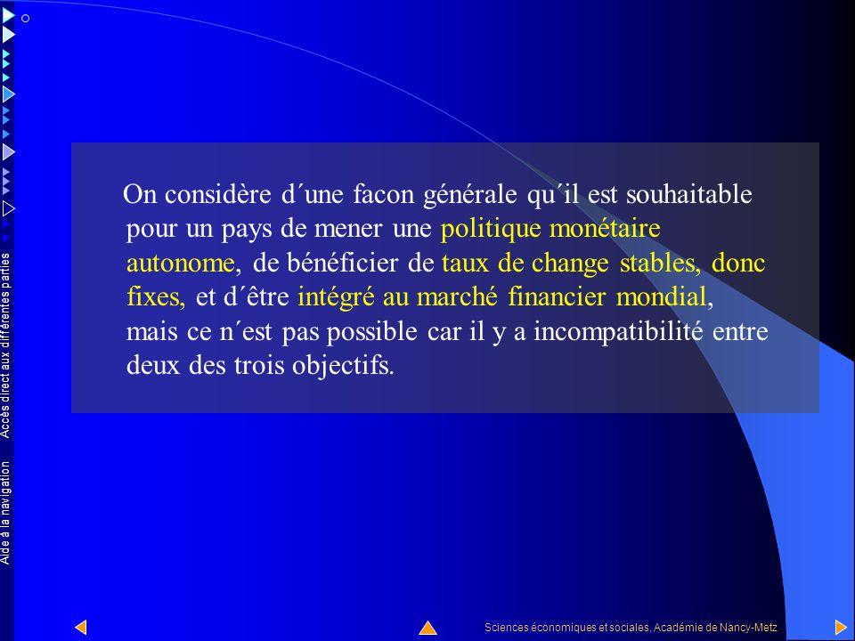 On considère d´une facon générale qu´il est souhaitable pour un pays de mener une politique monétaire autonome, de bénéficier de taux de change stables, donc fixes, et d´être intégré au marché financier mondial, mais ce n´est pas possible car il y a incompatibilité entre deux des trois objectifs.