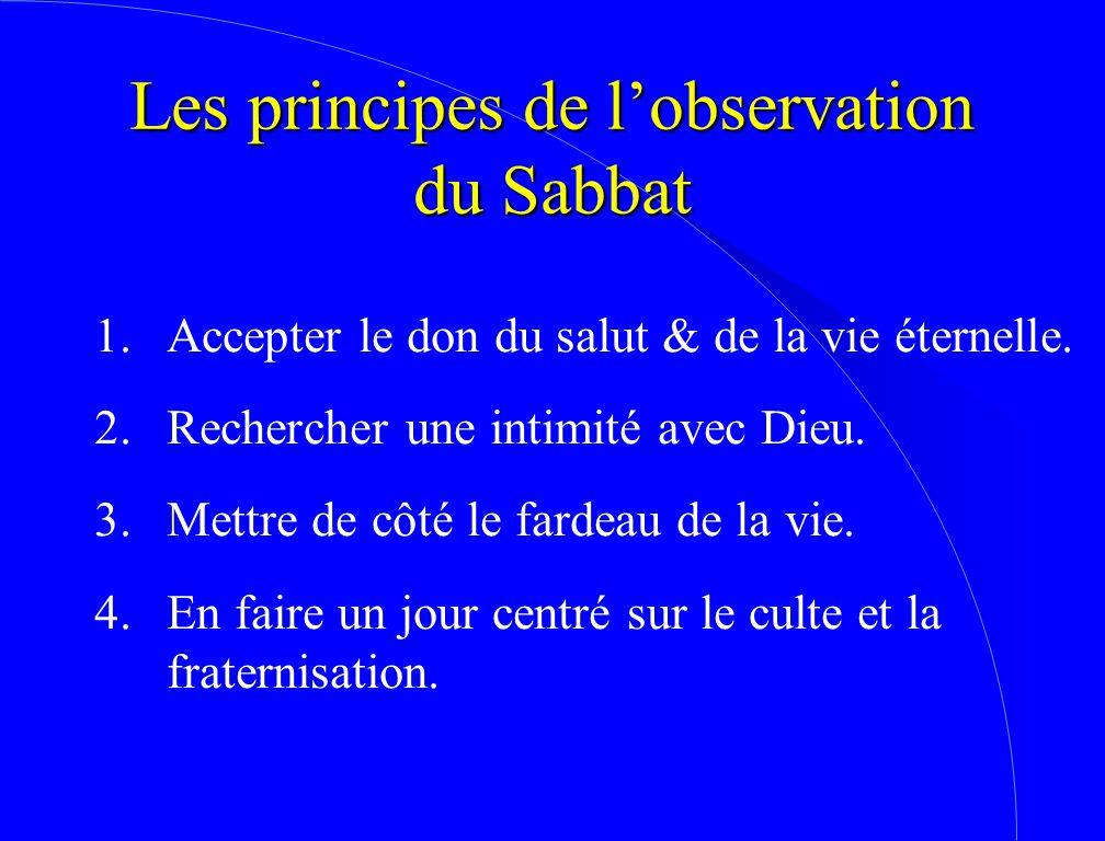 Les principes de l'observation du Sabbat