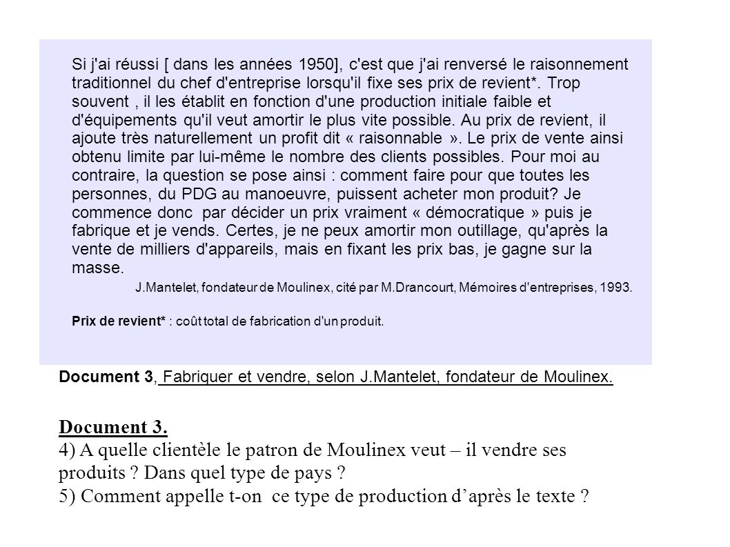 5) Comment appelle t-on ce type de production d'après le texte