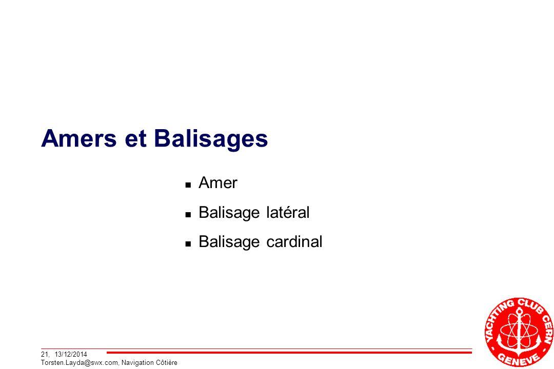 Amers et Balisages Amer Balisage latéral Balisage cardinal