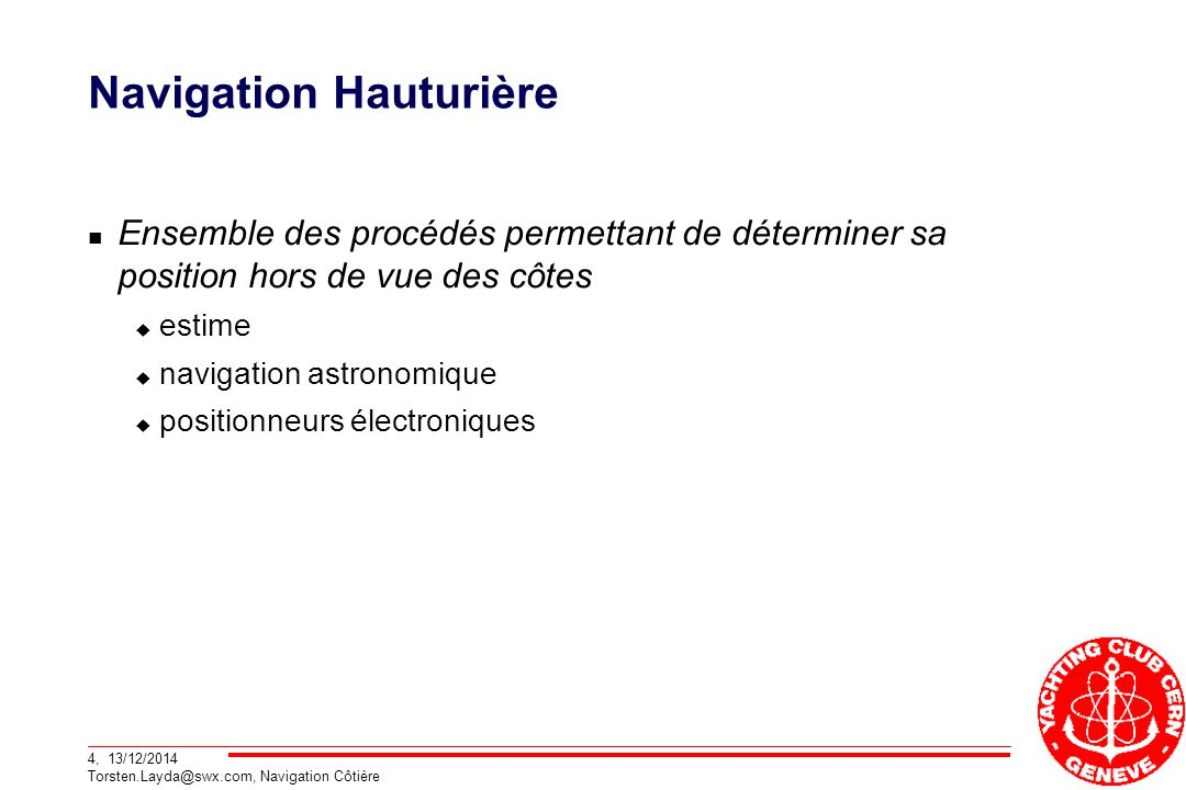 Navigation Hauturière