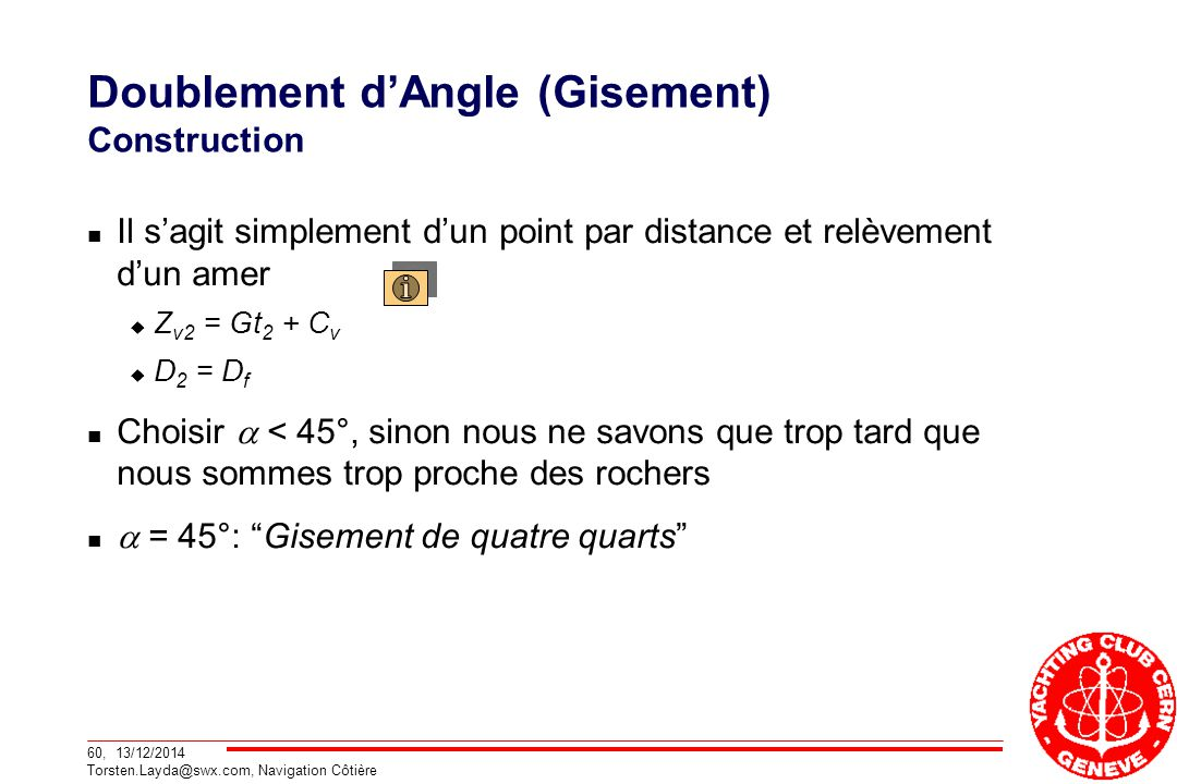 Doublement d'Angle (Gisement) Construction