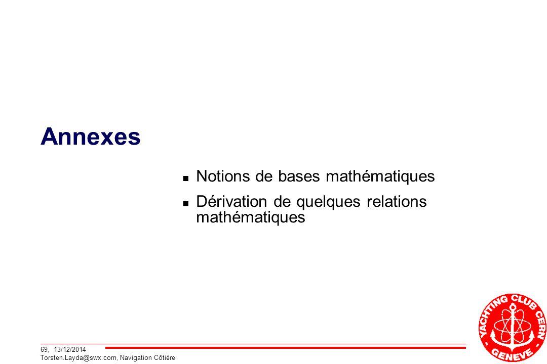 Annexes Notions de bases mathématiques