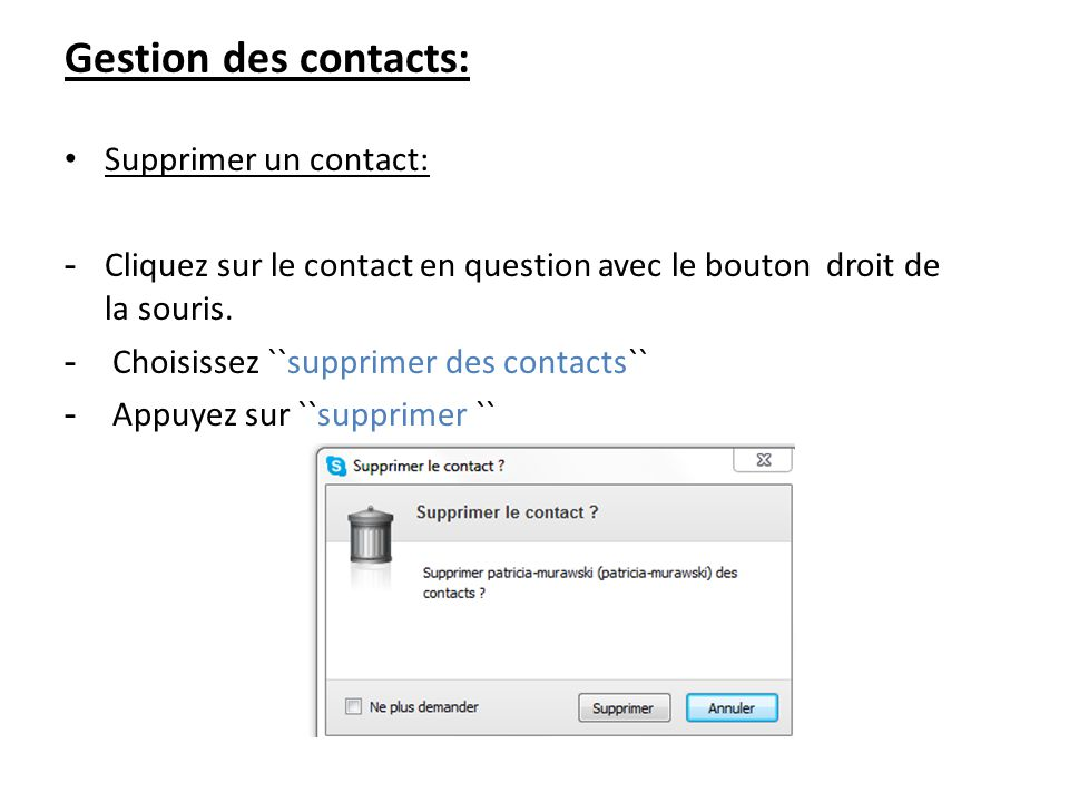 Gestion des contacts: Supprimer un contact:
