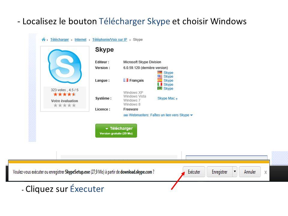 - Localisez le bouton Télécharger Skype et choisir Windows