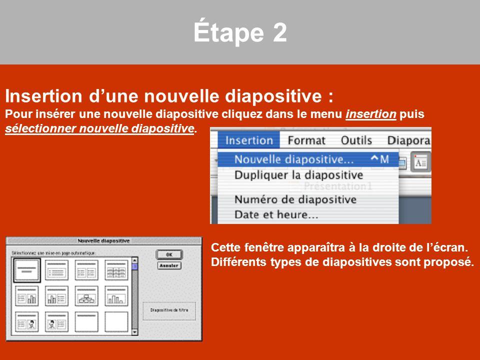 Étape 2 Insertion d'une nouvelle diapositive :
