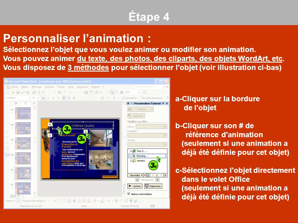 Personnaliser l'animation :