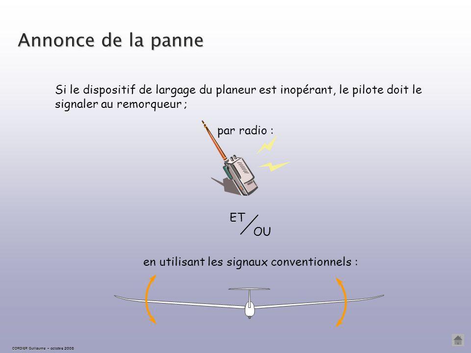 Annonce de la panne Si le dispositif de largage du planeur est inopérant, le pilote doit le signaler au remorqueur ;