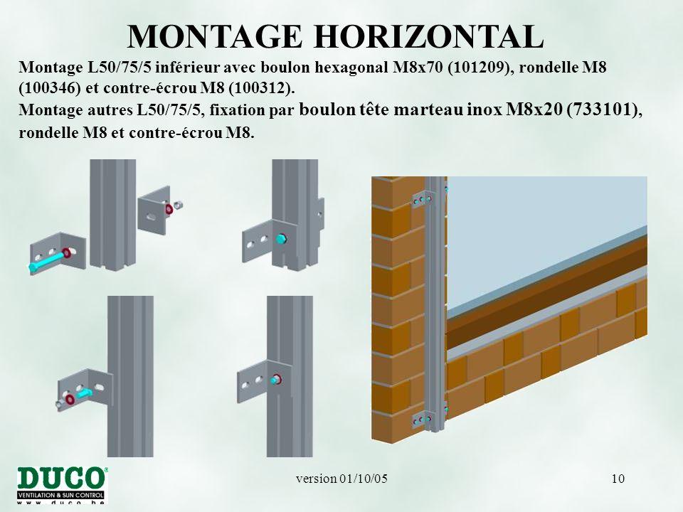 MONTAGE HORIZONTAL Montage L50/75/5 inférieur avec boulon hexagonal M8x70 (101209), rondelle M8 (100346) et contre-écrou M8 (100312).