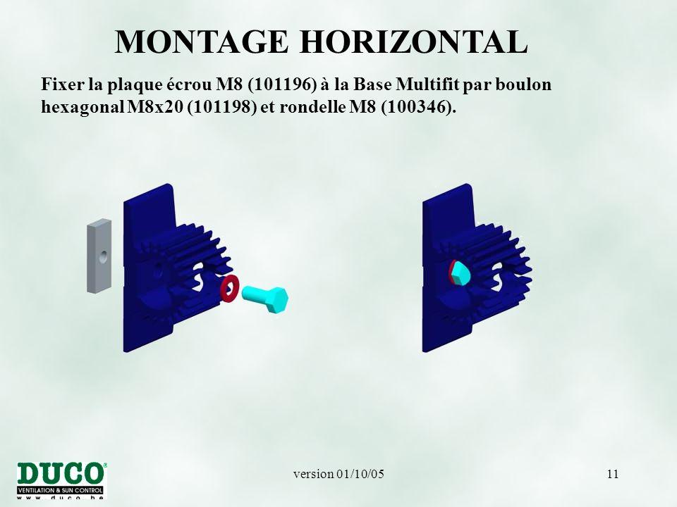 MONTAGE HORIZONTAL Fixer la plaque écrou M8 (101196) à la Base Multifit par boulon hexagonal M8x20 (101198) et rondelle M8 (100346).
