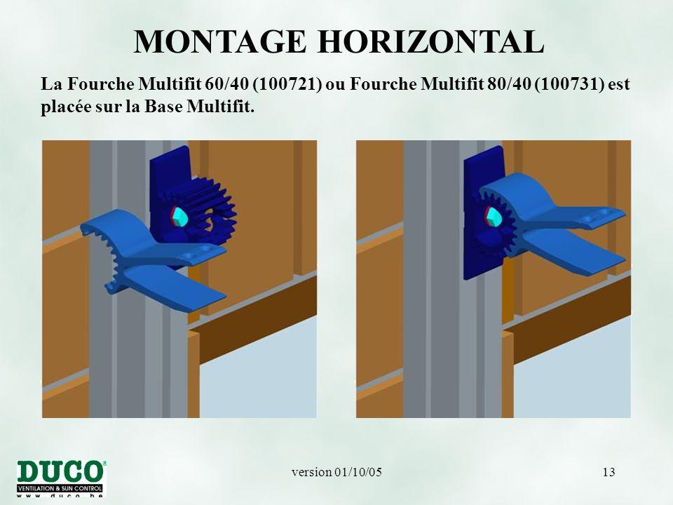 MONTAGE HORIZONTAL La Fourche Multifit 60/40 (100721) ou Fourche Multifit 80/40 (100731) est placée sur la Base Multifit.