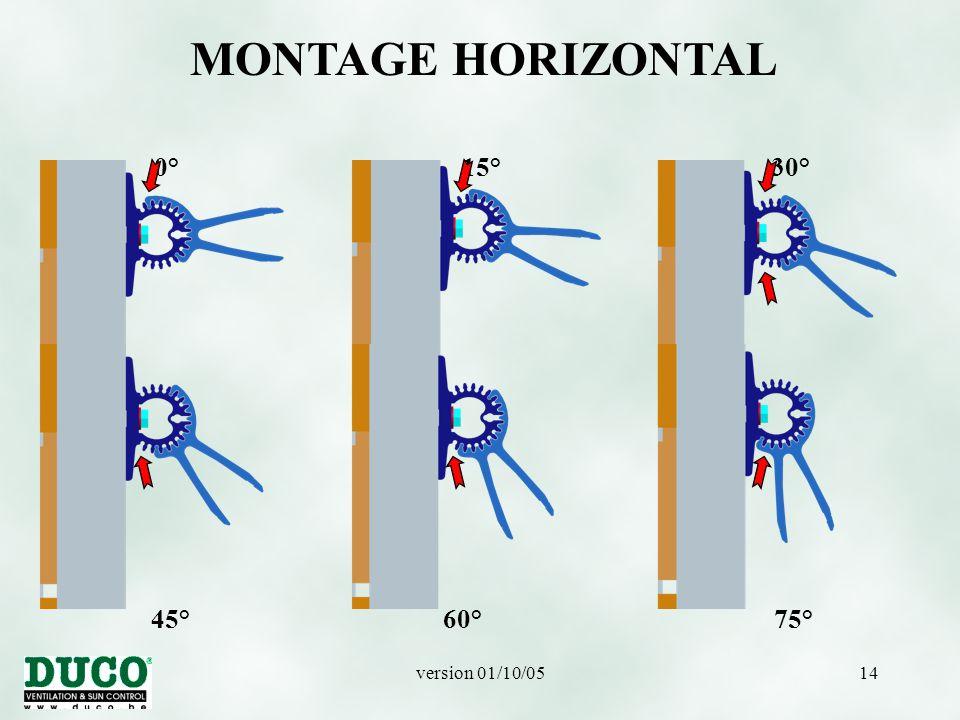MONTAGE HORIZONTAL 0° 15° 30° 45° 60° 75°