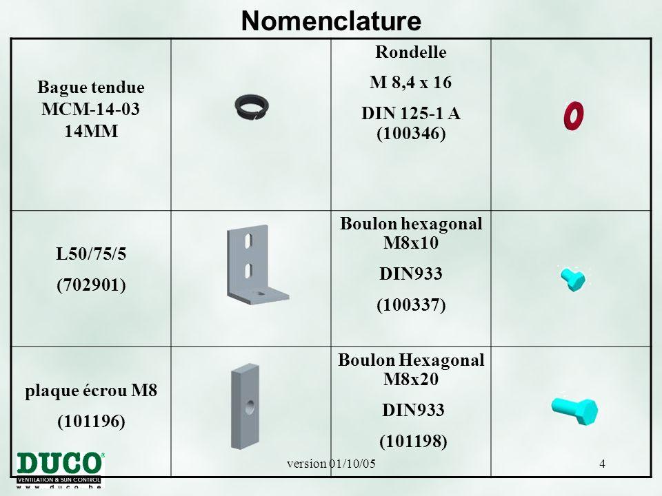 Nomenclature Rondelle Bague tendue MCM-14-03 14MM M 8,4 x 16