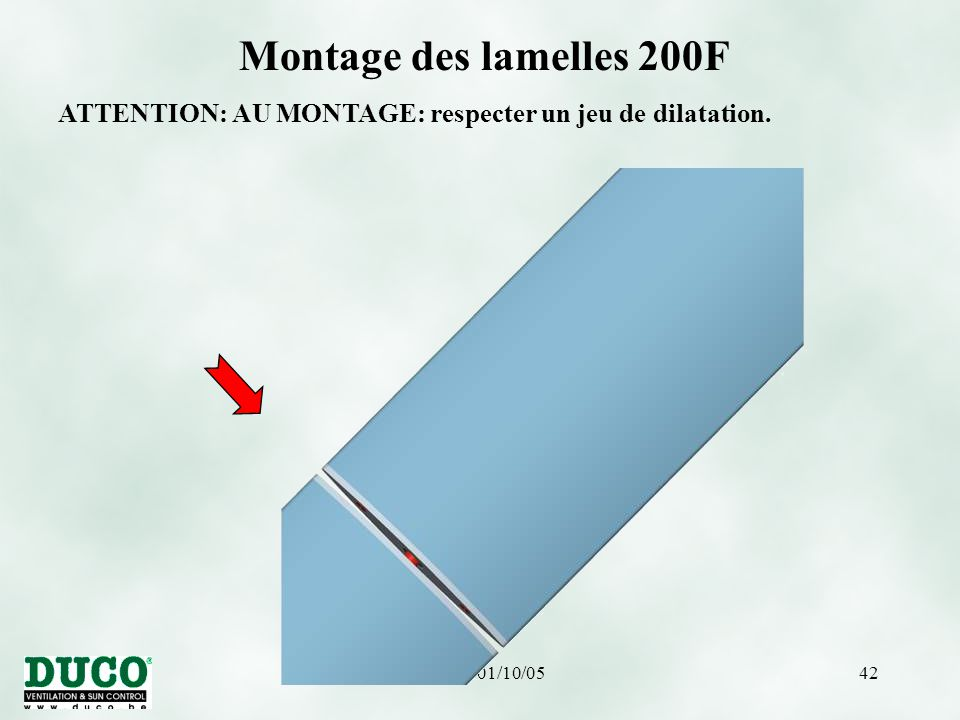 Montage des lamelles 200F ATTENTION: AU MONTAGE: respecter un jeu de dilatation. version 01/10/05