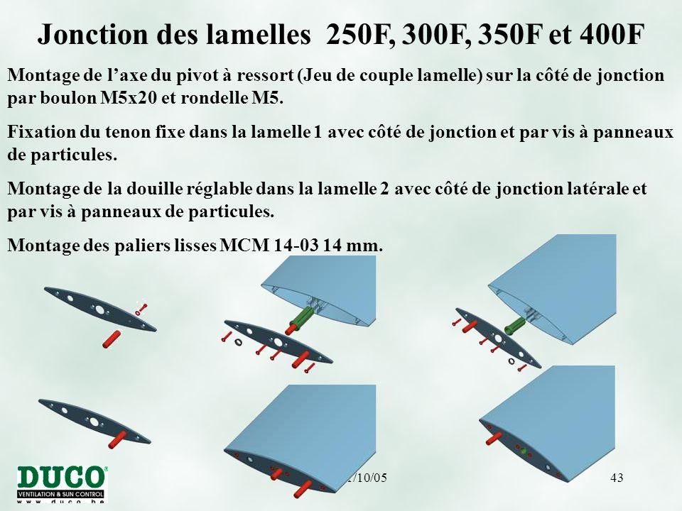 Jonction des lamelles 250F, 300F, 350F et 400F