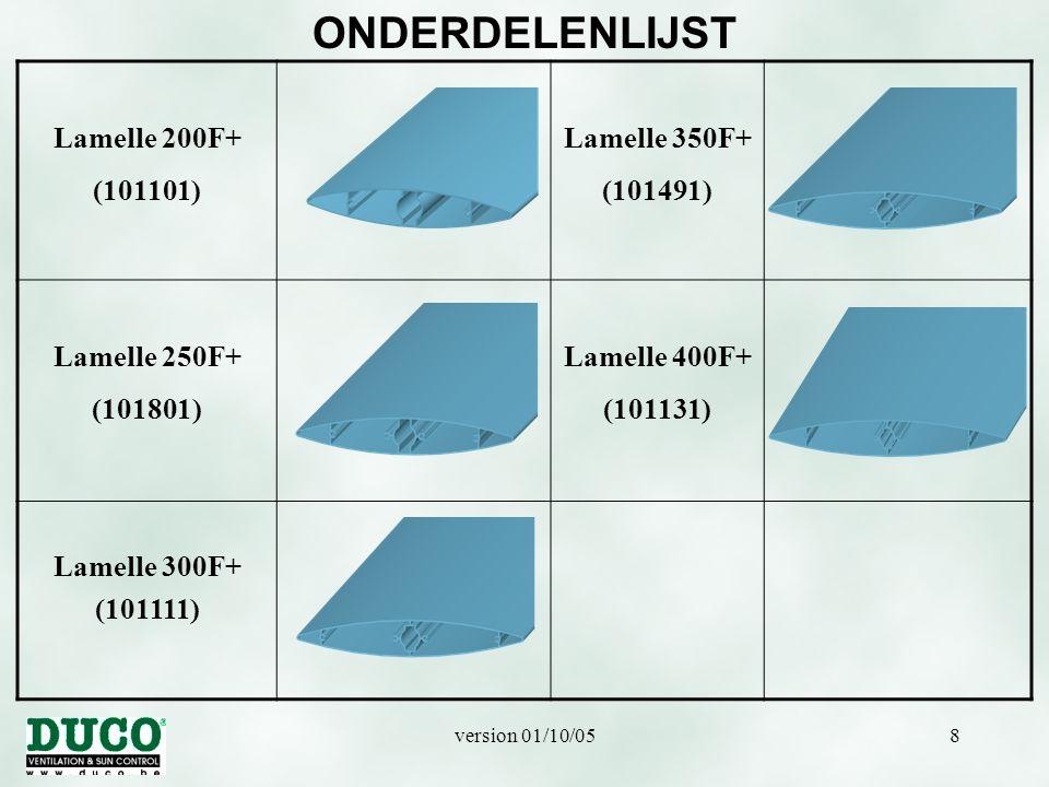 ONDERDELENLIJST Lamelle 200F+ (101101) Lamelle 350F+ (101491)