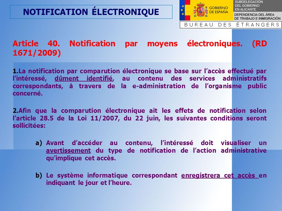 NOTIFICATION ÉLECTRONIQUE