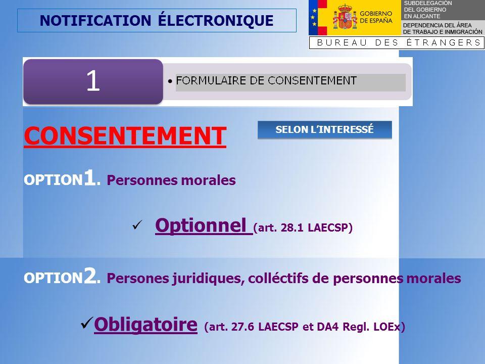 CONSENTEMENT Obligatoire (art. 27.6 LAECSP et DA4 Regl. LOEx)
