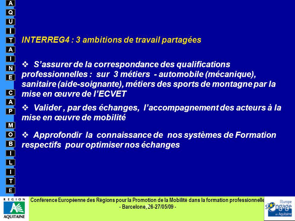 INTERREG4 : 3 ambitions de travail partagées