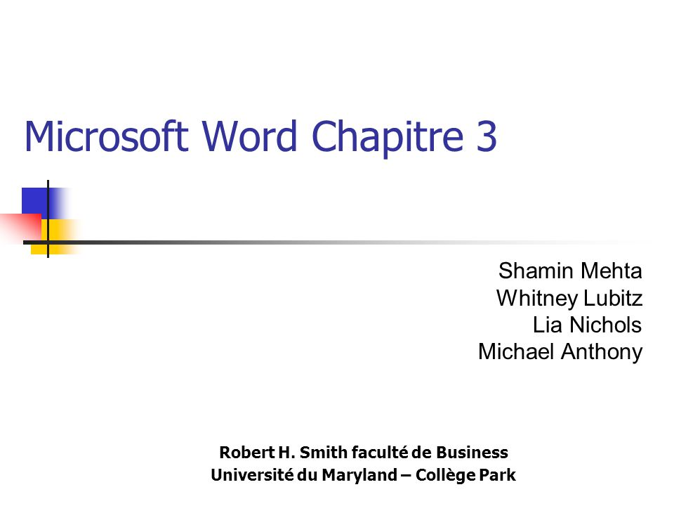 Microsoft Word Chapitre 3
