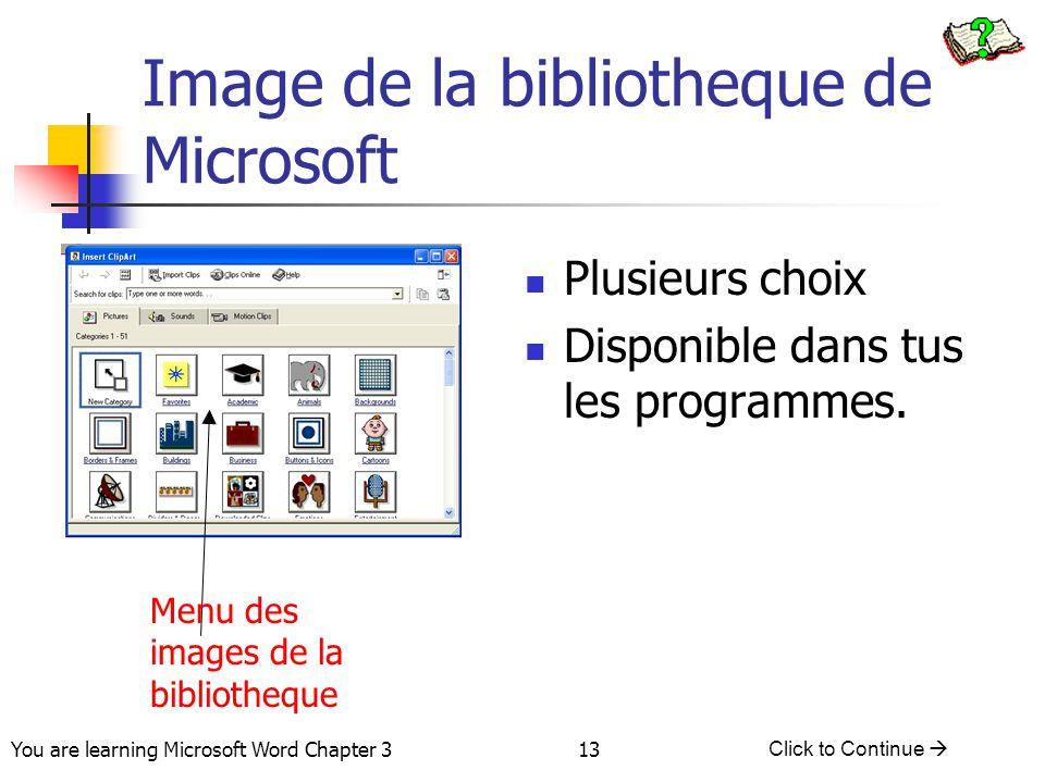 Image de la bibliotheque de Microsoft