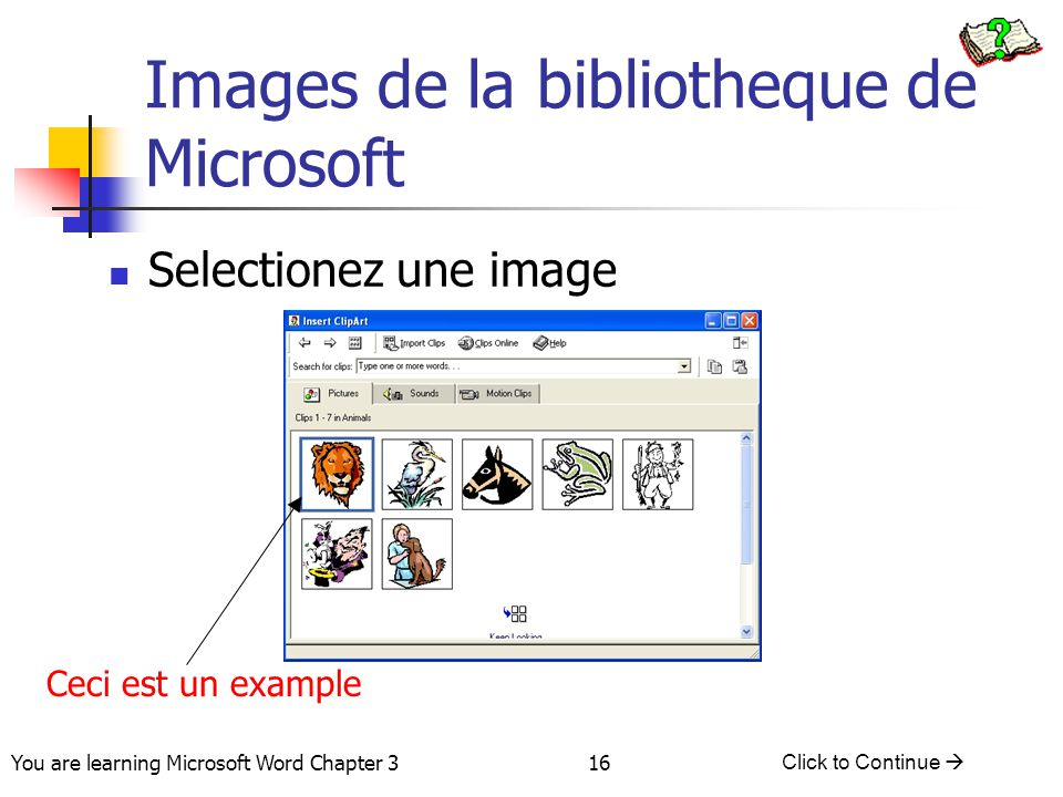 Images de la bibliotheque de Microsoft