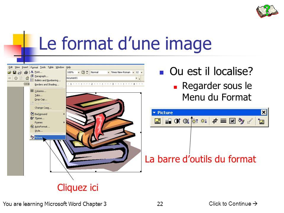 Le format d'une image Ou est il localise