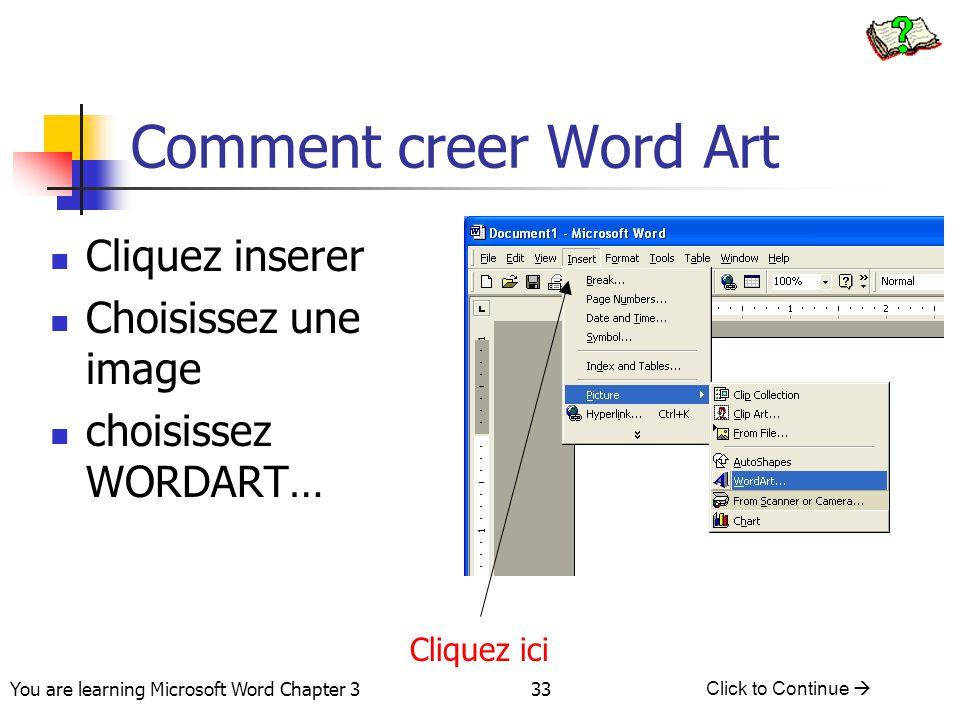 Comment creer Word Art Cliquez inserer Choisissez une image