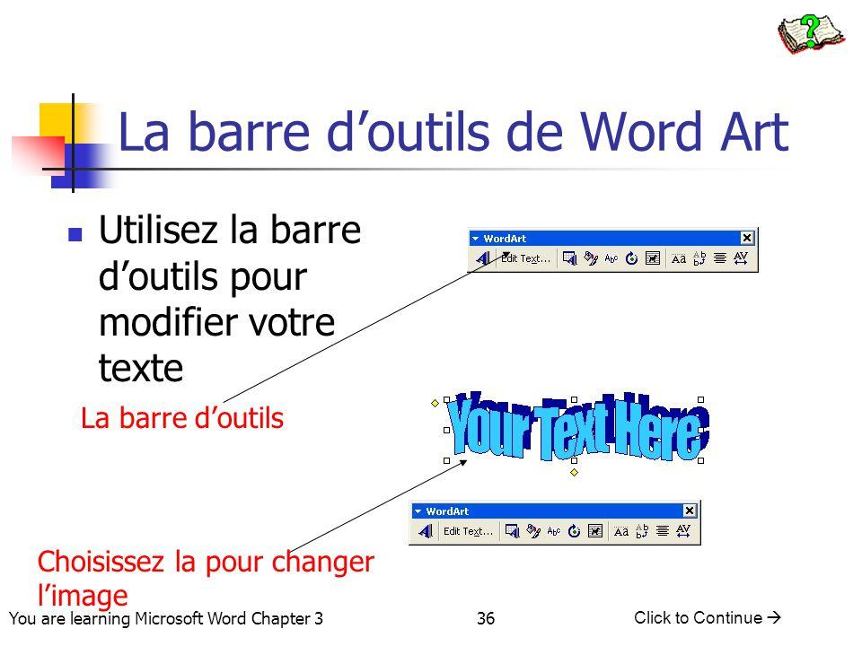 La barre d'outils de Word Art